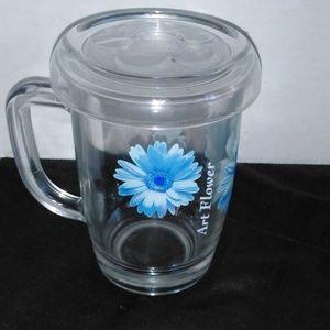 Blue Art Flower Coffee Tea Mug Parka Glass Cup VTG